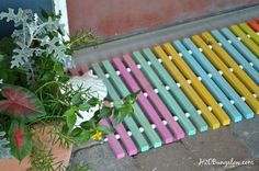 diy wood doormat, doors, home decor, how to, outdoor living, tools This is a great idea for a garden walkway, too!
