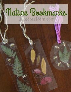 OutdoorsMom: Nature Bookmarks - Nature Crafts and Activities - Summer Crafts, Fall Crafts, Kids Crafts, Arts And Crafts, Kids Nature Crafts, Camping Crafts For Kids, Nature For Kids, Nature Nature, Crafts For Camp