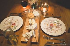A Dinner for two on vintage china with some yummy zingerman's cheese!