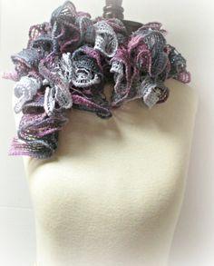 Shades of Acai Crocheted Ruffled Scarf