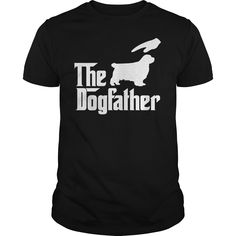 The DogFather CLUMBER SPANIEL T-Shirts, Hoodies. Check Price Now ==► https://www.sunfrog.com/Pets/The-DogFather-CLUMBER-SPANIEL-Black-Guys.html?id=41382