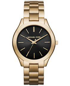 Michael Kors Women's Slim Runway Gold-Tone Stainless Steel Bracelet Watch 42mm MK3478 - Women's Watches - Jewelry & Watches - Macy's