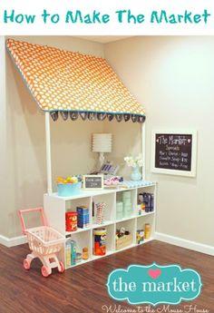 So ein toller Einkaufsladen für Kinder zum selber machen mit einem Ikea Regal, PVC Rohren und etwas Stoff