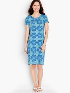 Talbots: Cotton Interlock Knit Shift Medallion Print