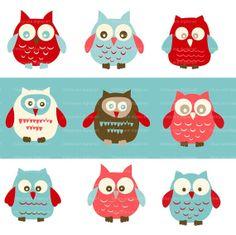 Clip Art Owls Stacey by TracyAnnDigitalArt on Etsy, $6.95