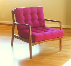 Beautiful handmade mid century modern inspired chair by Flotsam Furniture, via Etsy. Made from salvage lumber. Not a pink fan, but this chair had good bones. Retro Furniture, Furniture Decor, Furniture Design, Mid Century Chair, Mid Century Furniture, Eames, Mid Century Modern Decor, Furniture Inspiration, Design Inspiration