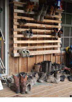 Day 10 -- Hiker footwear covers the porch at a hiker hostel on the Appalachian Trail. Day 10 -- Hiker footwear covers the porch at a hiker hostel on the Appalachian Trail. Outdoor Shoe Storage, Boot Storage, Diy Shoe Storage, Storage Ideas, Firewood Storage, Crate Storage, Boot Rack, Diy Store, Appalachian Trail
