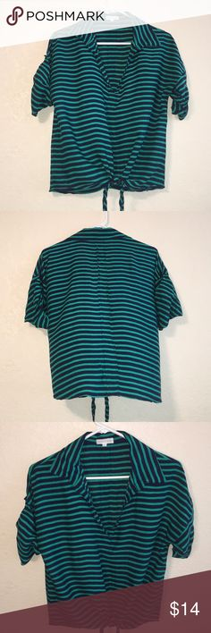 Thyme & Honey Blue and Green Striped Blouse 💞 Thyme & Honey Blue and Green Striped Blouse 💞  In great condition only worn once!!! 🙋🏻💙 thyme & honey Tops Blouses