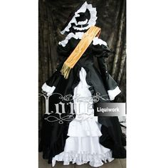 Black and White Edwardian Gothic Cosplay Polonaise Gowns Outfits Costumes SKU-131157