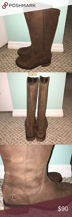Ugg seldon boots -brown suede Size 7 1/2. Worn once to break in, were too small. Nothing wrong with them at all. UGG Shoes Winter & Rain Boots