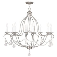 Chesterfield Brushed Nickel Eight Light Chandelier Livex Lighting Candles Without Shades C