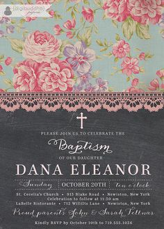 Chalkboard Lace Baptism Invitation Chic by digibuddhaPaperie