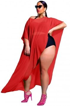 76f04ba3477cb Plus Size Red Draped Swimsuit Cover-up #Unbranded #CoverUp Big Girl Fashion,