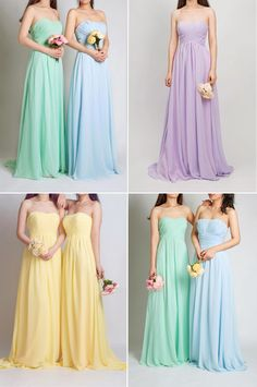2015 pretty pastel bridesmaid dresses with sweetheart necklines