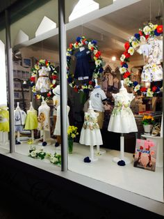 Little Cherubs Summer 2014 Window Display by night   Baby and Children's Clothing www.littlecherubsclothing.co.uk