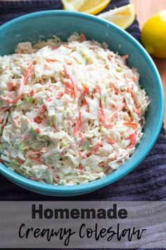 This tangy and sweet Homemade Creamy Coleslaw makes the perfect side dish. #coleslaw #creamy #homemade #sidedish #recipes