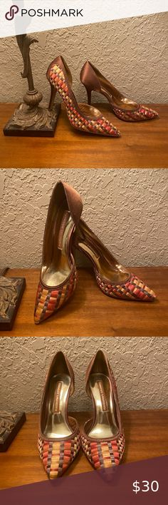 """NEW CHINESE LAUNDRY WOVEN SATIN PUMPS HEELS Stunning Chinese Laundry pumps feature an elegant woven satin pattern in hues of brown, orange, and gold, pointed toes and foot interior cutout. Size 7.5M (See measurements for sizing also). New without box. In excellent condition!!! Measurements: Insole length: 10.25"""" Width: 3.25"""" Heel height: 4"""" Chinese Laundry Shoes Heels Black Strappy Shoes, Navy Heels, Black Chunky Heels, Chunky Heel Pumps, Sparkly Heels, Caged Heels, Bow Heels, Black Leather Heels, Stiletto Pumps"""