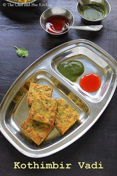 Kothimbir Vadi is basically fritters made up of Coriander leaves using besan(chickpea flour). Paneer Recipes, Veg Recipes, Spicy Recipes, Baby Food Recipes, Vegetarian Recipes, Cooking Recipes, Bread Recipes, Recipies, Cake Recipes