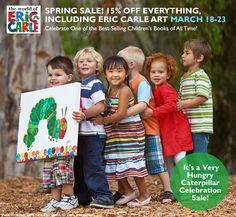 Our Spring Sale starts today! We're celebrating one of the best-selling children's books of all time. It's The Very Hungry Caterpillar Celebration Sale! Save 15% off everything including Eric Carle art AND we'll give you free shipping on orders over $98. Shop now!