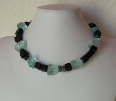 Necklace - Lava, glass, turquoise and sterling silver