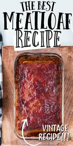 This a classic ground beef meatloaf is the type of recipe you'll want to make again and again. It's easy to make, incredibly tender and holds its shape as a loaf. It's sauce -- made with traditional ingredients like ketchup, brown sugar, and Worcestershire sauce -- is Ioaded with flavor. Classic Meatloaf Recipe, Good Meatloaf Recipe, Meat Loaf Recipe Easy, Best Meatloaf, Meatloaf Recipes, Pork Recipes, Cooking Recipes, Pork And Beef Meatloaf, Pastries