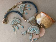 Jewelry, handmade, polymer clay, beads, ethnic, ethnic jewelry, pendant, jewelry set, the Indians