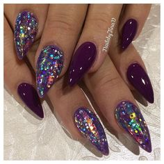#Repost @nailsbytinav ・・・ Using •Purple & •Purple Prizma from @tammytaylornails with •Glass strips from @oceannailsupply and an extra chunky custom glitter on top✨
