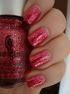 China Glaze Mrs. Claus - pink jelly base with hot pink and light pink glitter