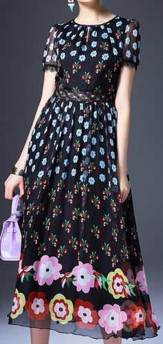 Long Floral Print Short Sleeved Silk Dress