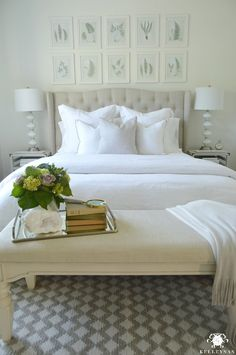 White Bedroom with Patterned Rug