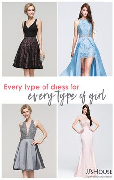 Whether you like a dark, sleek style or a head-turning metallic dress, JJ's House has dresses for all your Prom & Homecoming needs. With hundreds of dresses, every girl is bound to find her match. Mini dresses, high-low, or full-length gowns are all available along with colors ranging from pastels to metallics to jewel-toned.