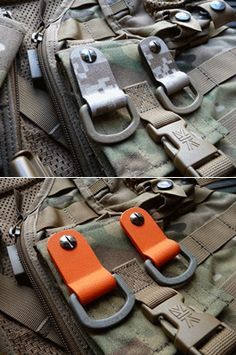 Super tough and durable M.O.L.L.E. attachments. Never lose your gear again. Made using 100% military grade materials. Can be easily mounted with a flat head screwdriver on to any 1 inch webbing strap. Genuine Nexus D-rings. Hand made here, in the UK by RT. Sold in pairs. Please select colour from drop down menu. Very unique product.