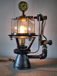 Steam punk lamp - grinder & press parts