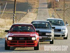 ...a trio of Audi Quattro Coupes......