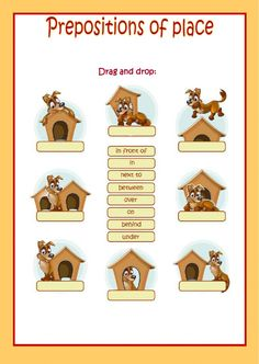 Prepositions of place Language: English Grade/level: elementary School subject: English as a Second Language (ESL) Main content: Place prepositions Other contents: English Grammar For Kids, English Lessons For Kids, Kids English, English Language Learning, Teaching English, English Prepositions, English Grammar Worksheets, Grammar Lessons, English Vocabulary