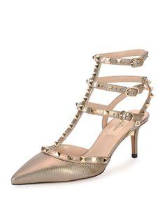 Rockstud+Metallic+Leather+Sandal,+Light+Gold+by+Valentino+at+Bergdorf+Goodman.