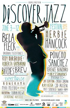 """""""Discover Jazz"""" festival poster. Great play with fonts and the silhouette."""
