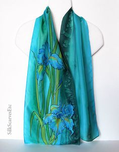 Blue iris painted silk scarf Floral teal green scarf Blue Green Silk, Teal Green, Painted Silk, Hand Painted, Blue Iris Flowers, Embroidery Suits Punjabi, Different Shades Of Green, Silk Shawl, Floral Scarf