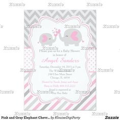 Pink and Gray Elephant Chevron Baby Shower Card