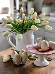 Spring Decor Ideas For Your Home * Hip & Humble Style Easter Cake Stand, Easter Garland, Easter Decor, Cake Stand With Dome, Greenery Garland, Wood Candle Holders, Green Vase, Seasonal Decor, Long Winter