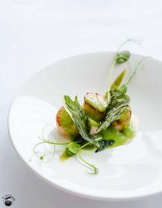 Hokkaido scallops w/smoked eel puree & textures of peas @Berowra Waters Inn, Sydney North via Im Still Hungry