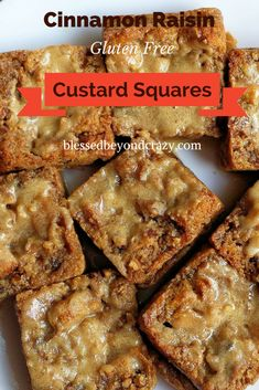Cinnamon Raisin Custard Squares (GF Option) - I absolutely LOVE the smell of these baking in my oven. I couldn't hardly wait for them to cool off enough to add a touch of rum glaze! So delish!