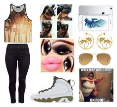 """Untitled #301"" by jasmine1164 ❤ liked on Polyvore featuring moda, Forever 21, Juicy Couture, Retrò, Ray-Ban e H&M"