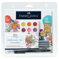 Faber-Castell Creative Studio Watercolor Art for Beginners - Create Floral Watercolor Designs Watercolor Kit, Watercolor Pencils, Watercolor Design, Floral Watercolor, Watercolors, Faber Castell, Creative Studio, Pitt Artist Pens, Watercolor Techniques
