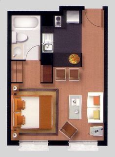 For you who are currently planning on living in a studio apartment, or even has already purchased one, you need the layout of the apartment so that it will be easier to decorate it. One Room Apartment, Studio Apartment Layout, Micro Apartment, Apartment Floor Plans, Small House Plans, House Floor Plans, Casas Containers, House Layouts, Little Houses