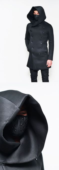 Outerwear :: Super Big Hood Double Neoprene Coat-Coat 63 - Mens Fashion Clothing For An Attractive Guy Look