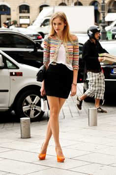 Sophisticated cropped striped sweater. Amazing peep-toe tangerine heels. Interestingly chic.