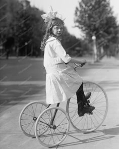 Victorian Girl On Antique Tricycle 8x10 Reprint Of Old Photo