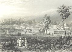 An historic etching of Daylesford in Victoria from 1873 J. Melbourne Victoria, Victoria Australia, Old Pictures, Old Photos, Daylesford Victoria, John Rose, Victorian Gold, Historical Pictures, Historic Homes