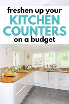 Freshen up your kitchen for spring when you DIY your counters on a budget. Save money with these 5 smart tips for frugal home improvement. Get a whole new look in your kitchen with new countertops. Countertop Paint Kit, Painting Countertops, New Countertops, Butcher Block Countertops, Kitchen Counters, Living On A Budget, Kitchen On A Budget, Diy On A Budget, Diy Home Improvement
